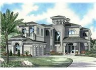 Luxury house plans AA5872-0266 front elevation.