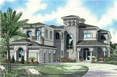 5-Bedroom, 5872 Sq Ft Luxury House Plan - 107-1192 - Front Exterior