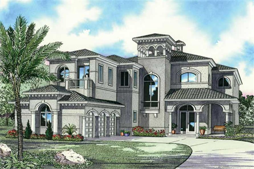 Front elevation of Luxury home (ThePlanCollection: House Plan #107-1192)