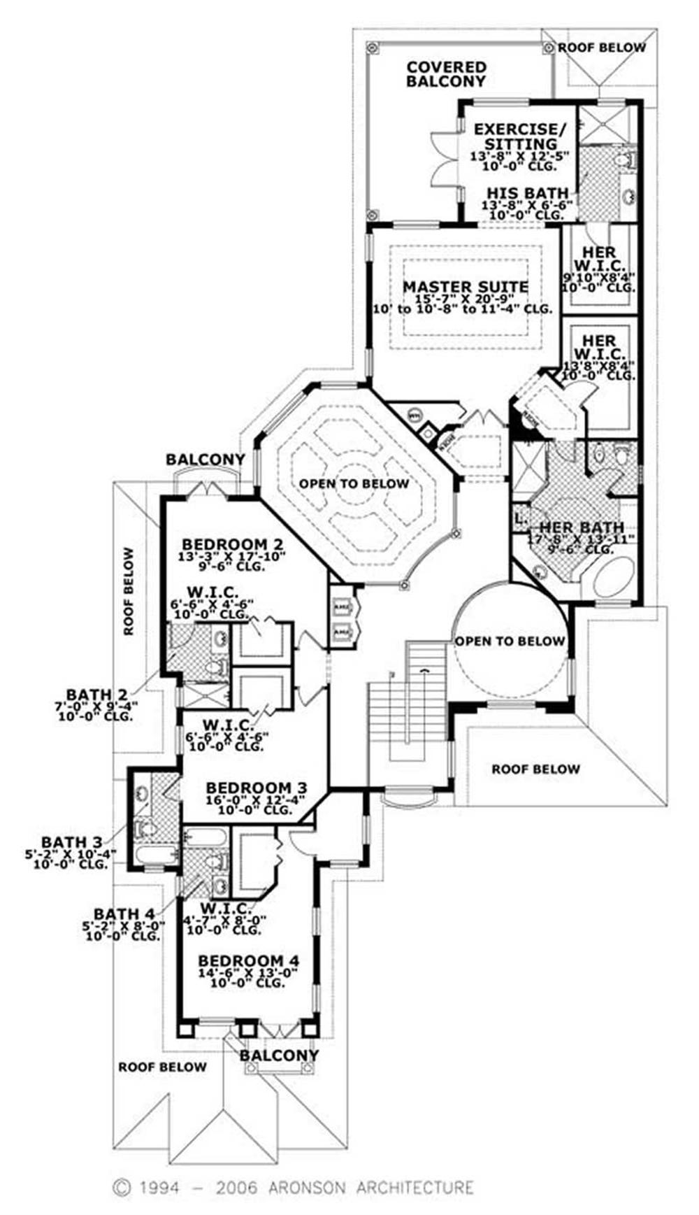 This image shows the upper living and dining areas of the house plan.