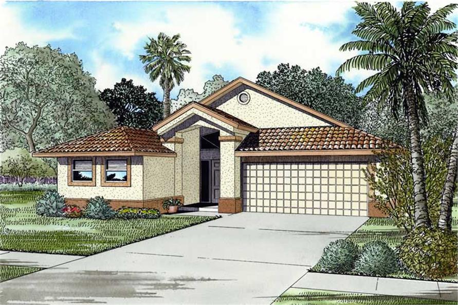 3-Bedroom, 1715 Sq Ft Mediterranean Home Plan - 107-1199 - Main Exterior