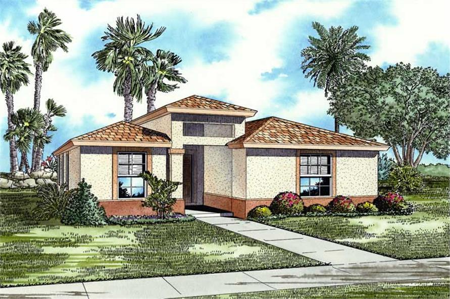 3-Bedroom, 1720 Sq Ft Mediterranean Home Plan - 107-1200 - Main Exterior