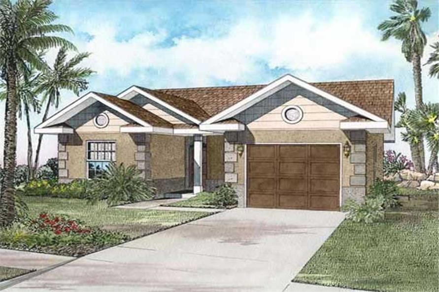 3-Bedroom, 1382 Sq Ft Mediterranean House Plan - 107-1201 - Front Exterior