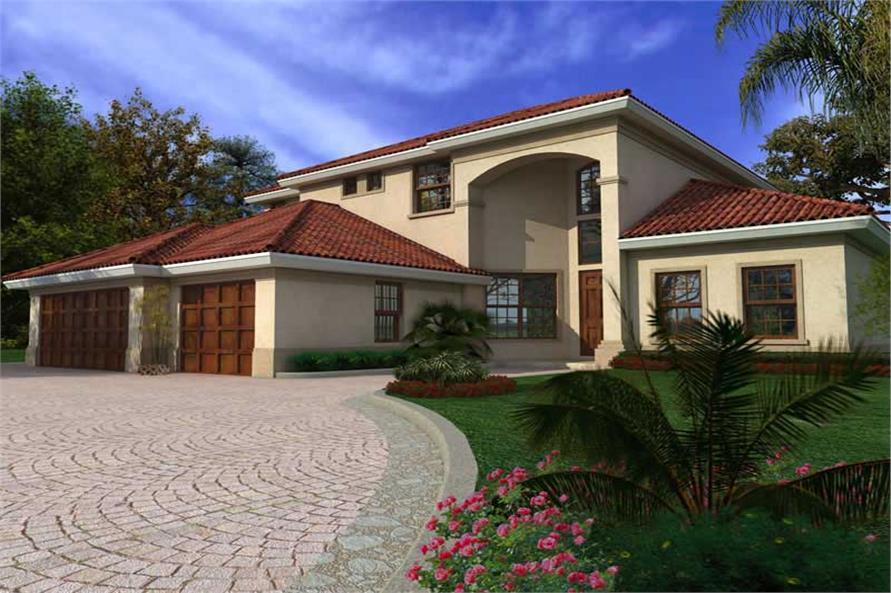 5-Bedroom, 3564 Sq Ft Mediterranean Home Plan - 107-1202 - Main Exterior