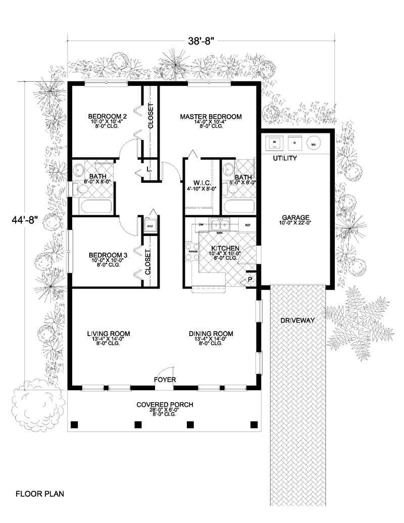 Mediterranean home with 3 bdrms 1250 sq ft floor plan for 1250 sq ft house plans