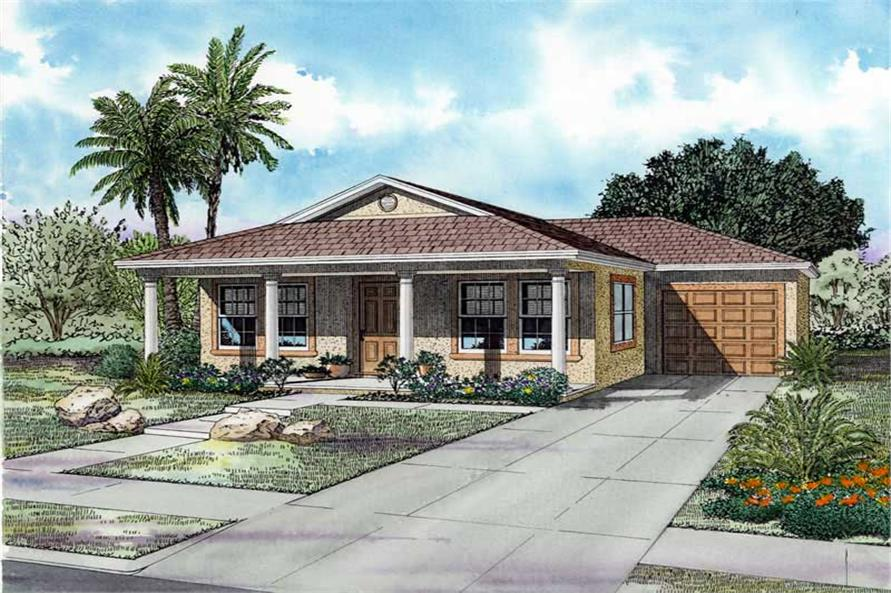 3-Bedroom, 1250 Sq Ft Mediterranean Home Plan - 107-1204 - Main Exterior