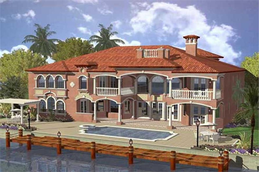 Home Plan Front Elevation of this 6-Bedroom,6679 Sq Ft Plan -107-1207