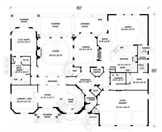 ... Floor Plan First Story Of Luxury Plan #107 1207