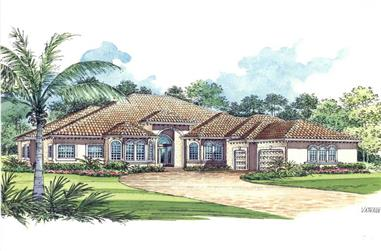 5-Bedroom, 5131 Sq Ft Mediterranean House Plan - 107-1208 - Front Exterior