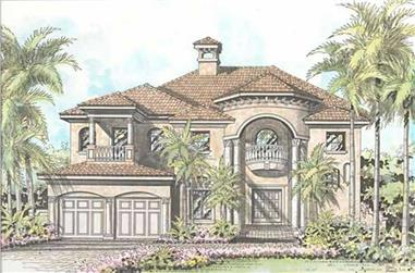 4-Bedroom, 4073 Sq Ft Coastal Home Plan - 107-1213 - Main Exterior