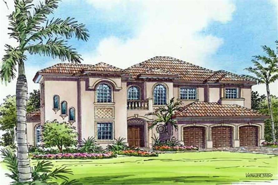 Home Plan Rendering of this 5-Bedroom,5690 Sq Ft Plan -107-1215