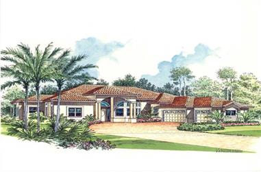 4-Bedroom, 3775 Sq Ft Mediterranean House Plan - 107-1216 - Front Exterior