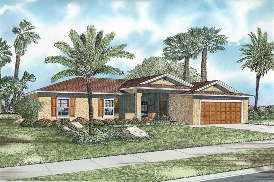 3-Bedroom, 1404 Sq Ft Mediterranean House Plan - 107-1218 - Front Exterior