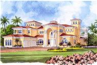 Mediterranean house plans color rendering.