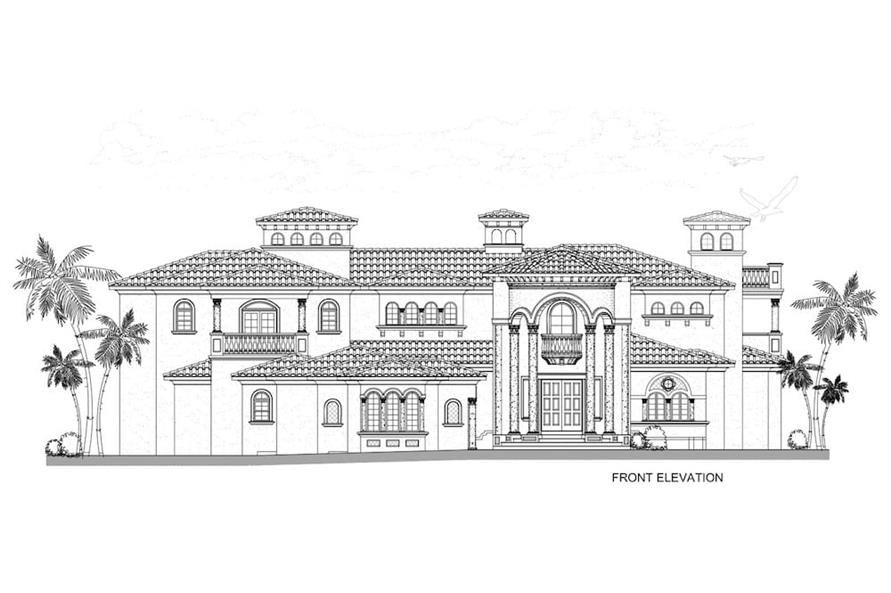 Home Plan Front Elevation of this 5-Bedroom,7893 Sq Ft Plan -107-1219