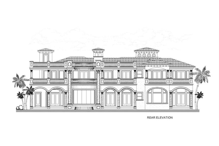 Home Plan Rear Elevation of this 5-Bedroom,7893 Sq Ft Plan -107-1219
