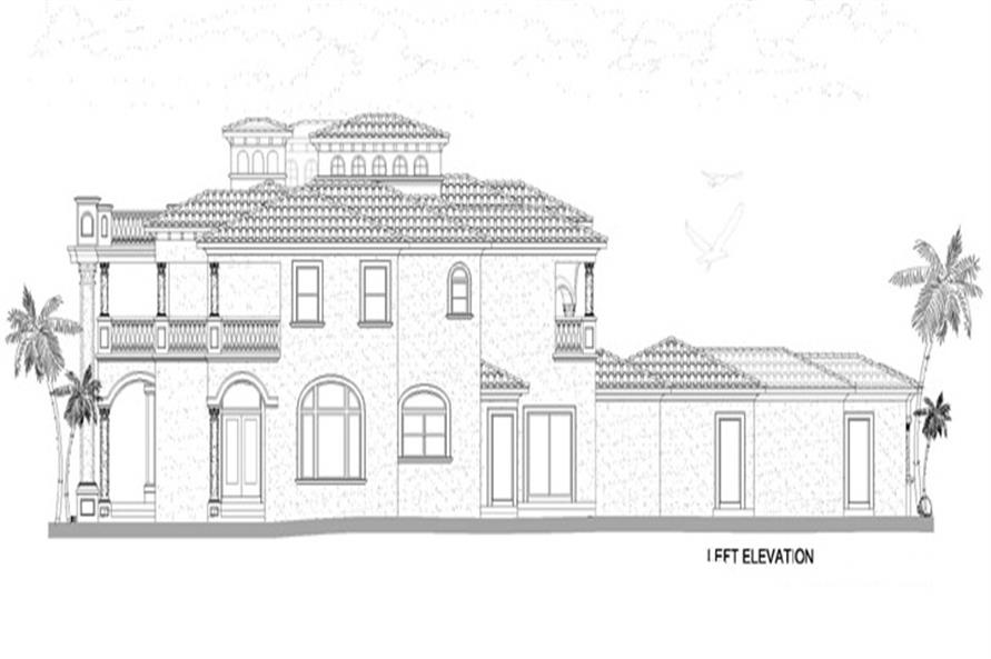 Home Plan Left Elevation of this 5-Bedroom,7893 Sq Ft Plan -107-1219