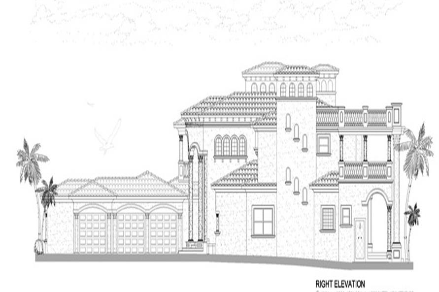 Home Plan Right Elevation of this 5-Bedroom,7893 Sq Ft Plan -107-1219