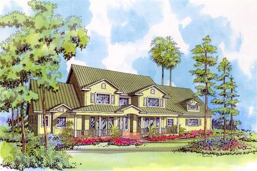 4-Bedroom, 3715 Sq Ft Mediterranean Home Plan - 107-1222 - Main Exterior