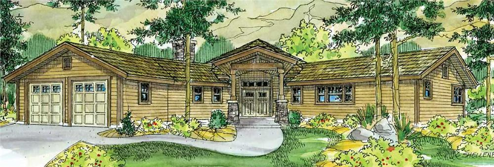 This image shows the front elevation of these Lodge House Plans.
