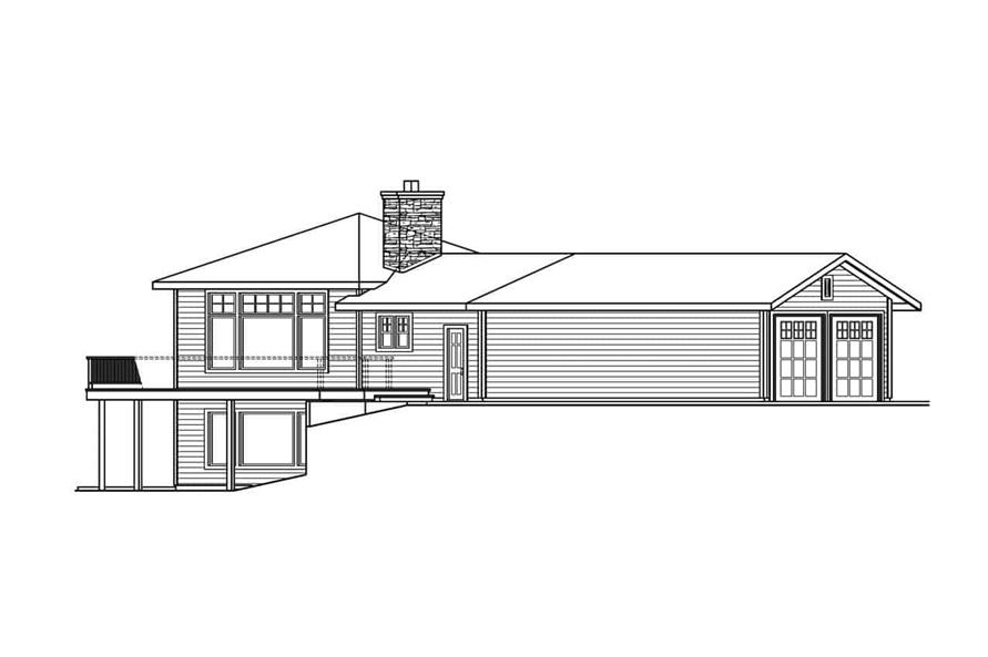 Home Plan Left Elevation of this 3-Bedroom,3793 Sq Ft Plan -108-1001
