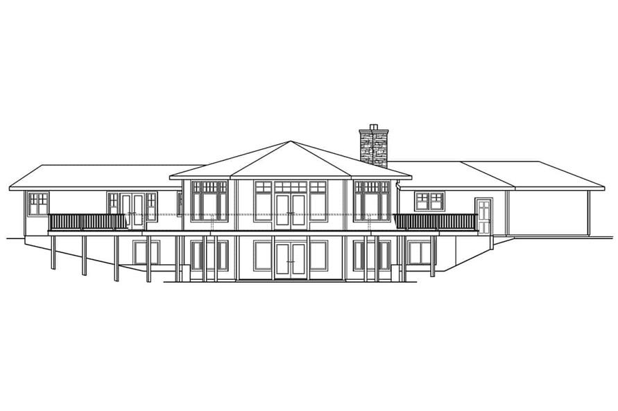 Home Plan Rear Elevation of this 3-Bedroom,3793 Sq Ft Plan -108-1001