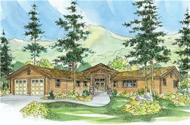 3-Bedroom, 3793 Sq Ft Log Cabin House - Plan #108-1001 - Front Exterior