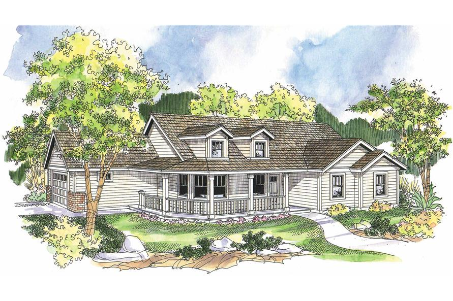 3-Bedroom, 1506 Sq Ft Country Home Plan - 108-1002 - Main Exterior