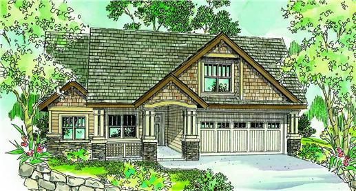 This is a colorful rendering of these Craftsman House Plans.