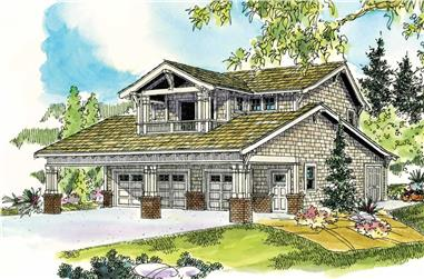 This is a colored rendering of this Garage with an apartment plan.