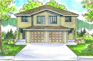 4-Bedroom, 2568 Sq Ft Multi-Unit House Plan - 108-1007 - Front Exterior