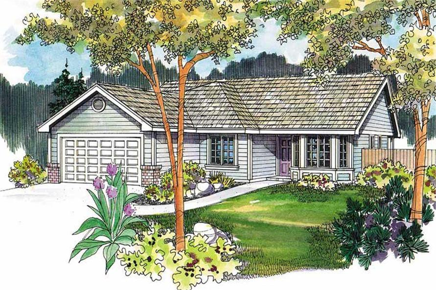 This is an artist's rendering of these Ranch Home Plans.