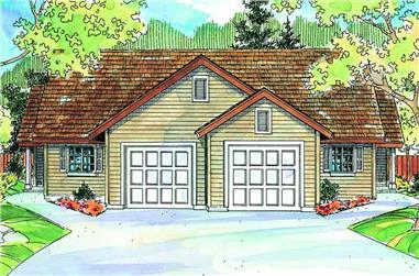 3-Bedroom, 1202 Sq Ft Multi-Unit House Plan - 108-1013 - Front Exterior