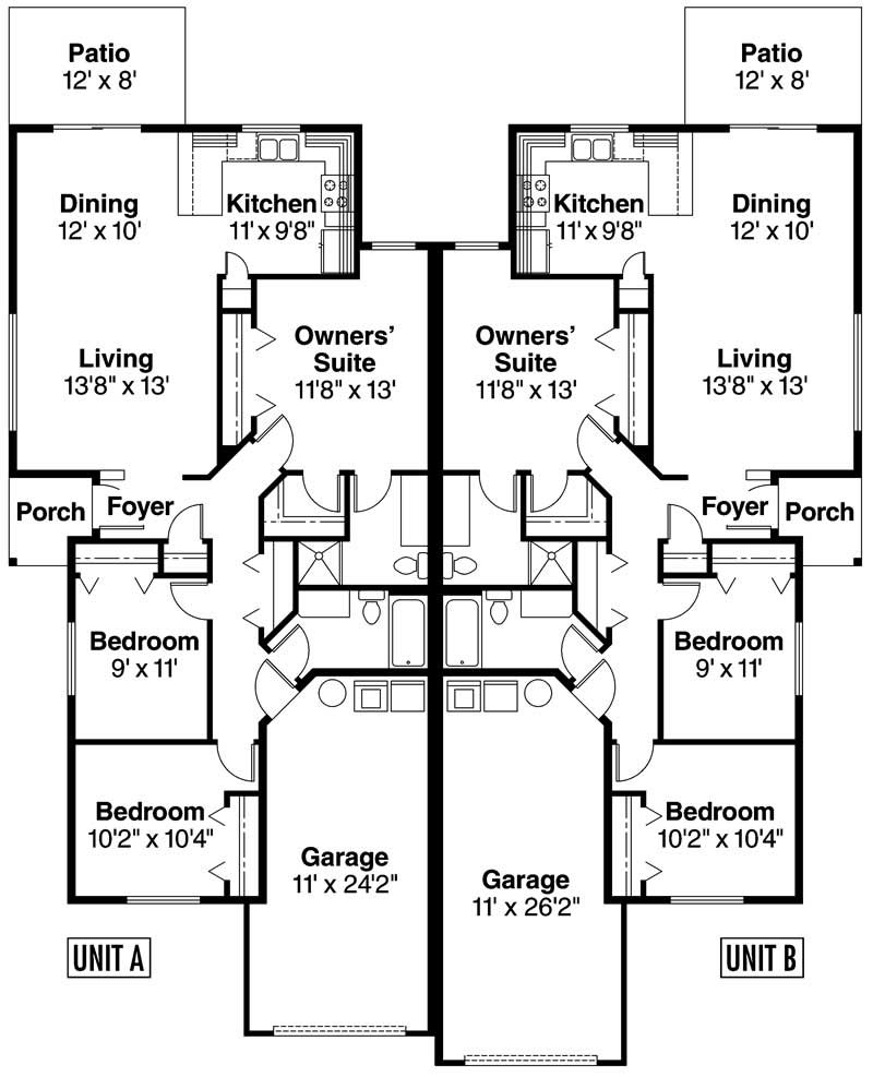 Contemporary home with 3 bdrms 1202 sq ft house plan for Ranch duplex plans
