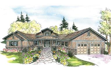 3-Bedroom, 2827 Sq Ft Ranch House Plan - 108-1014 - Front Exterior