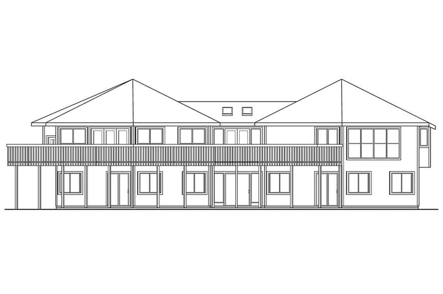 Home Plan Rear Elevation of this 3-Bedroom,3881 Sq Ft Plan -108-1015
