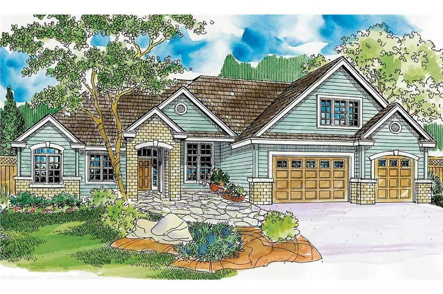 This is a colored rendering of Craftsman Houseplans 30-665.