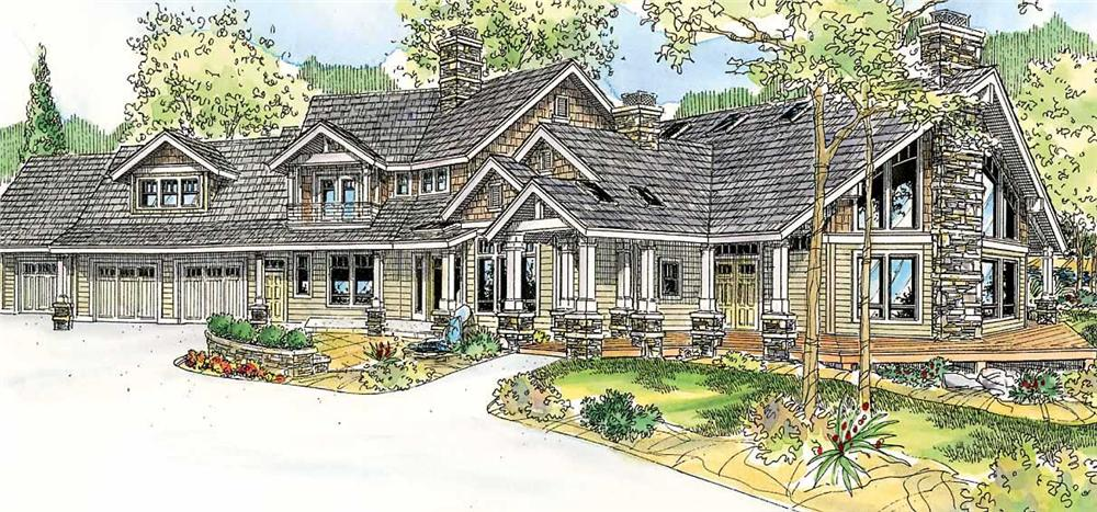 This particular image shows a nice angled view of these Craftsman Home Plans.