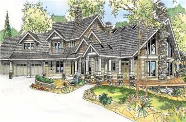 4-Bedroom, 4292 Sq Ft Country House Plan - 108-1017 - Front Exterior