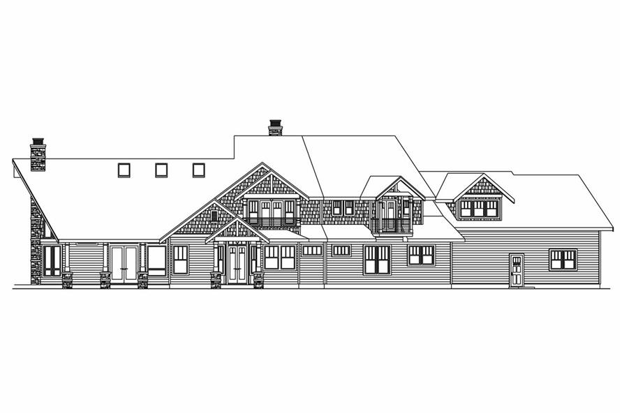 Home Plan Rear Elevation of this 4-Bedroom,4292 Sq Ft Plan -108-1017