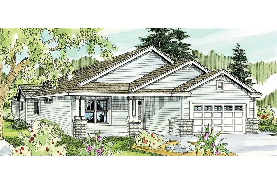 This shows the front elevation of these Bungalow Home Plans.