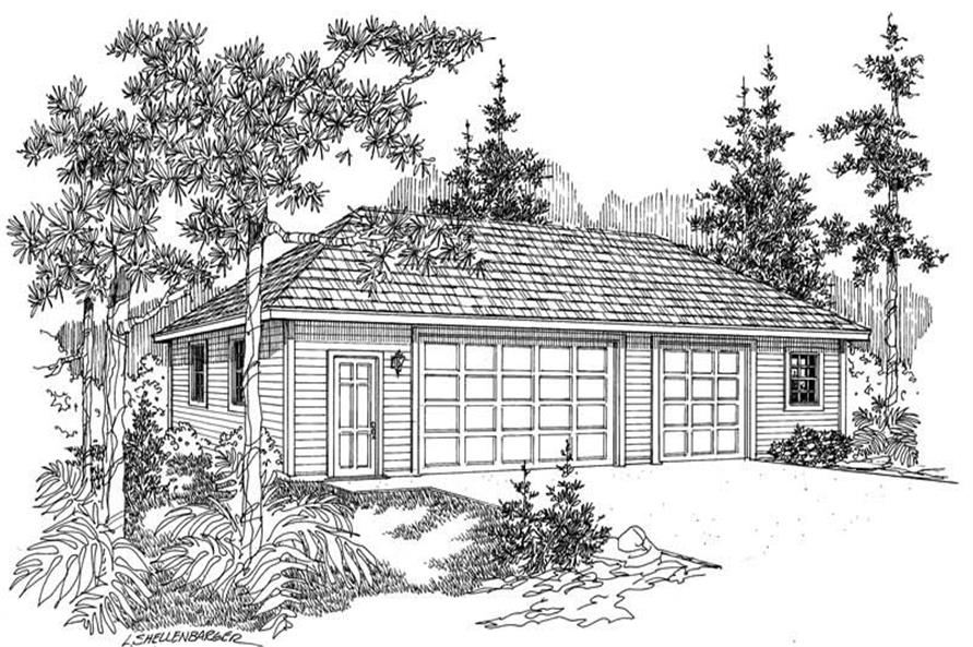 0-Bedroom, 1500 Sq Ft Garage House Plan - 108-1022 - Front Exterior