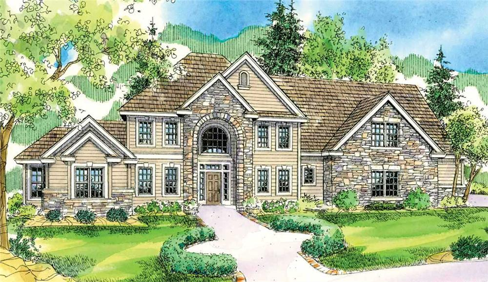 This is an artist's rendering of these Colonial House Plans.