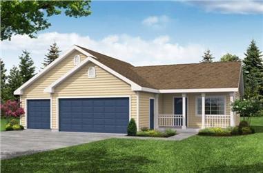 1-Bedroom, 405 Sq Ft Garage w/Apartments Home Plan - 108-1027 - Main Exterior