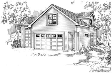 2-Car Plus RV and 507 Living Sq Ft Garage House Plan - 108-1031 - Front Exterior