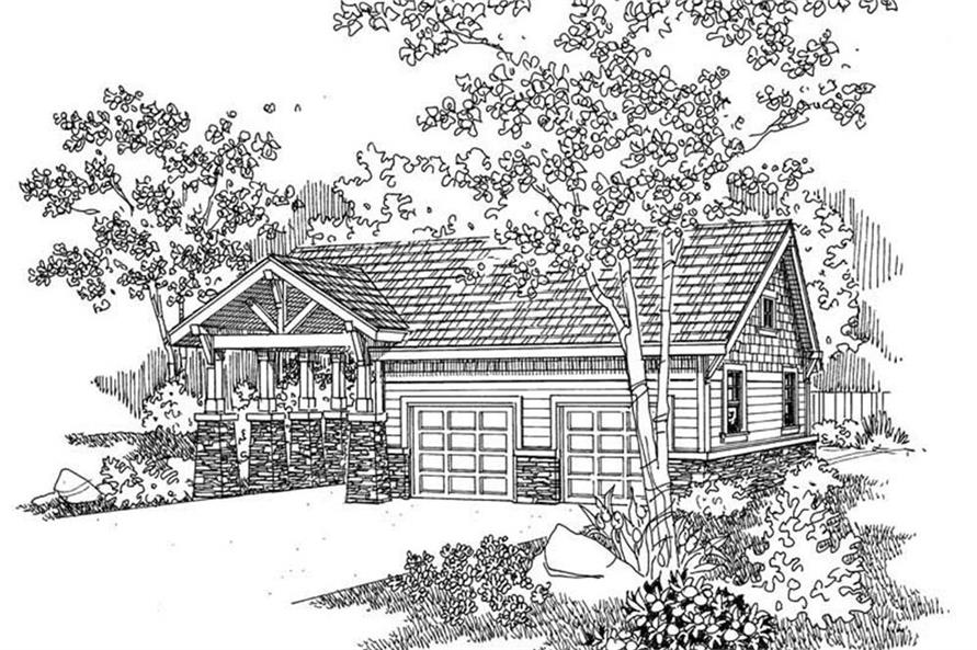 0-Bedroom, 50 Sq Ft Garage House Plan - 108-1033 - Front Exterior