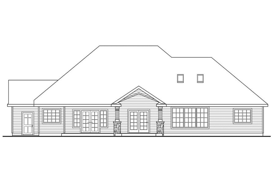 Home Plan Rear Elevation of this 3-Bedroom,2825 Sq Ft Plan -108-1034