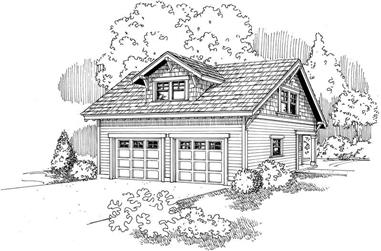 Front elevation of Craftsman home (ThePlanCollection: House Plan #108-1035)
