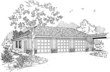 1-Bedroom, 1500 Sq Ft Garage Home Plan - 108-1036 - Main Exterior