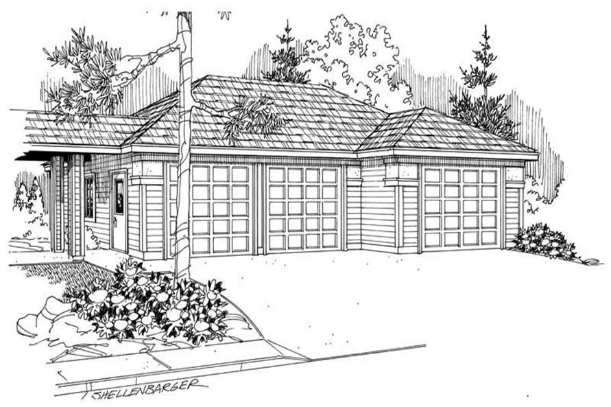 1-Bedroom, 1072 Sq Ft Garage Home Plan - 108-1037 - Main Exterior